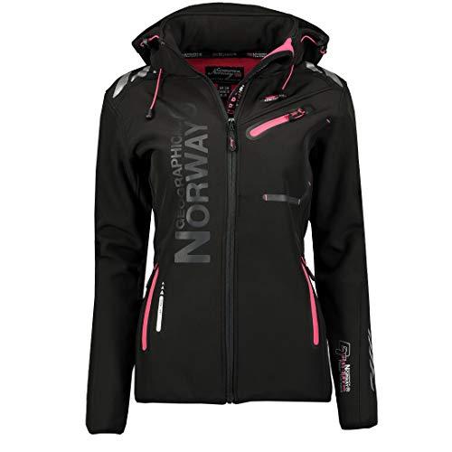 Geographical Norway REINE LADY - Veste Softshell Femme Impermeable - Jacket À Capuche Outdoor - Blouson Coupe Vent Resistant Hiver - Activites En Exterieur Randonnée (Noir/Rose 2XL) Taille 5