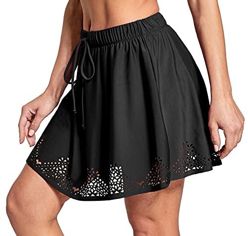 ChinFun Women's High Waisted Swim Skirt Plus Size Bikini Tankini Drawstring Swimsuit Bottoms Built in Briefs Black M