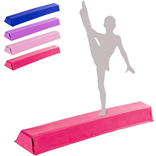 GOPLUS Balance Beam Gymnastik, Schwebebalken für Zuhause Turnen, Gymnastikbalken Klappbar, Turnen Balken für Kinder und Gymnastik Anfänger, PU-Oberfläche, 117x20x10 cm