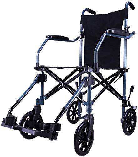 HONYGE LXGANG Silla de ruedas de aluminio propulsada por asistente, estructura ligera y plegable, silla de viaje portátil con bolsa de transporte, reposapiés extraíbles, azul, peso