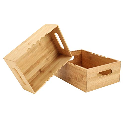 TQVAI Natural Bamboo Kitchen Storage Basket 2 Pack Pantry Countertop Organizer with Handle - Ideal for Hoding Spice Jars, Seansoning, Herbs, Tea Bags, Coffee Pods, Original