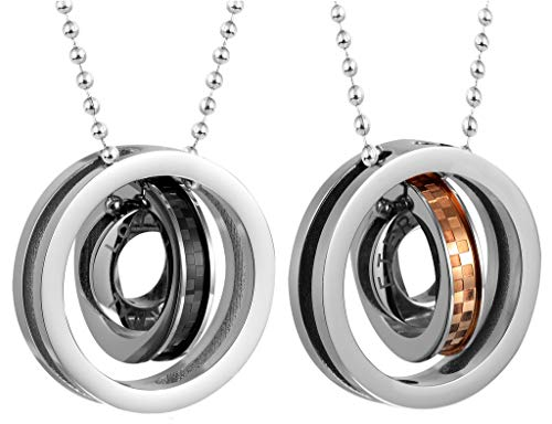 ANAZOZ roestvrij stalen halsketting dames ketting hanger Channel Line Halo Rings Liefde Eternal AZ184
