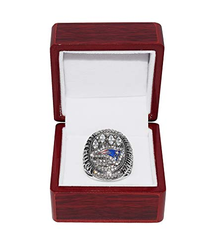 NEW ENGLAND PATRIOTS (Tom Brady) 2014 SUPER BOWL XLIX WORLD CHAMPIONS (Do Your Job) Rare Collectible High-Quality Replica NFL Football Silver Championship Ring with Cherrywood Display Box