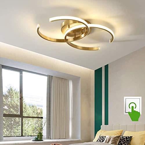 LED Deckenleuchte 2-flammig Modern Ring Schlafzimmerlampe Dimmen Kupfer leuchte Deckenlampe Für Wohnzimmerlampe Esszimmer Küche Studie Lampe Acryl Messing Innen Deko Decken Beleuchtung, Golden, 36W