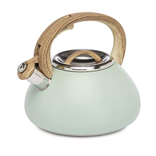 Goodful Stainless Steel Whistling Tea Kettle for Stovetop, Trigger Spout, Wood-Look Handle, 2.5 Qt Capacity, Sage