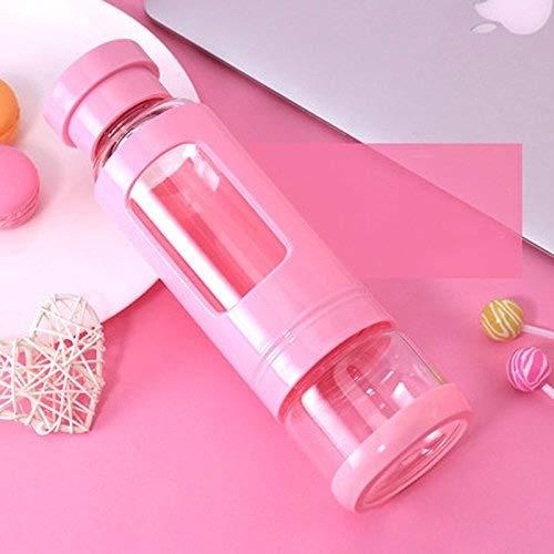 iggiqy996q- Hommes Portable Incassable Verre Résistant à la Chaleur en Plastique Tasse d'eau Femelle Creative Tendance Bubble Tasse tasse à café (Couleur : Pink, Taille : 520ml)