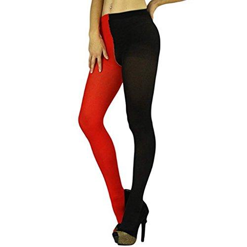 CHICTRY Damen Herren Strümpfe Zweifarbig Strumpfhosen Leggings Tights Lange Hose Pants Harlequin Kostüm Halloween Karneval Zubehör Schwarz & Rot One Size