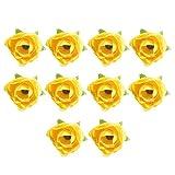 GRASARY Flores Artificiales, 10 Piezas De Flores Artificiales, Arreglo De Brotes De Té, Decoración De Caja De Dulces De Boda DIY Amarillo