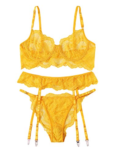 SheIn Women's 3 Piece Floral Lace Lingerie Set with Garter Belts Sexy Bra and Panty Yellow Large