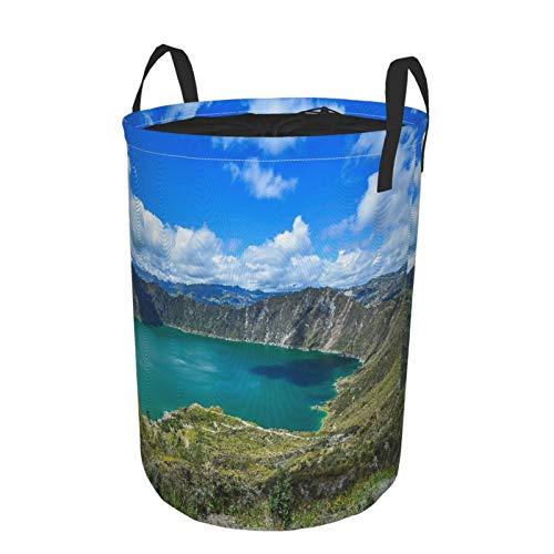 """NOLOVVHA Plegable Grande Cesto de Ropa Sucia para el Hogar,Quilotoa Ecuador Lagoon Volcano Turquoise Wate,Lavandería Cesta de Almacenaje Impermeable con Cordón,14"""" x 19"""""""