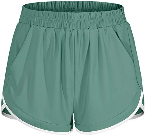 Blevonh Running Shorts for Women,Wide Waist Tummy Control Athletic Yoga Workout Short Built in Underwear Teens Girls Elegant Sexy Sports Lounging Bottoms Green M