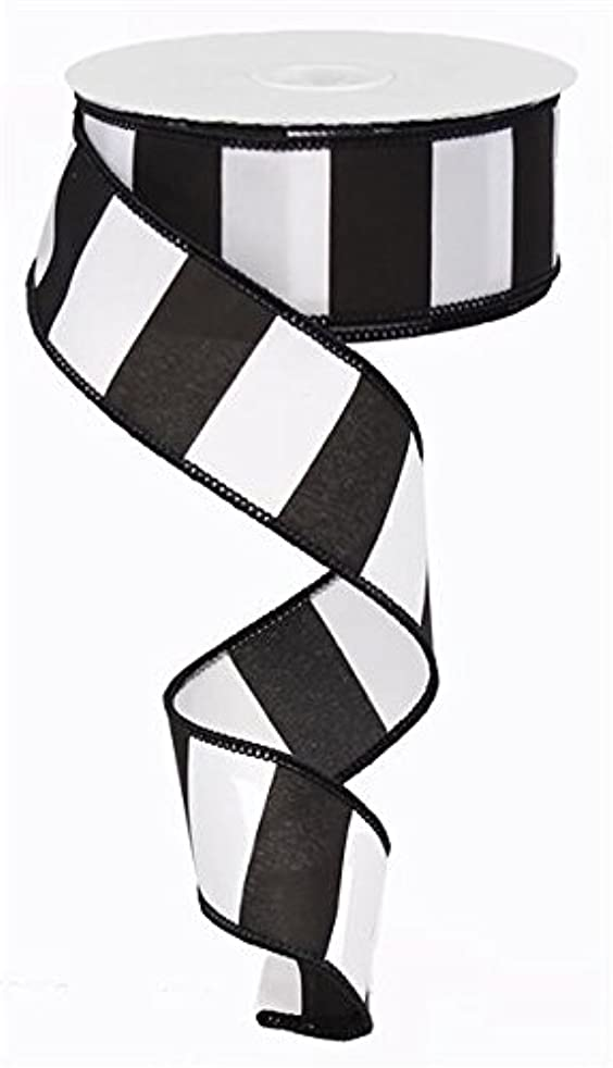 Wide Stripe Black & White Wired Edge Ribbon - 10 yards (1.5
