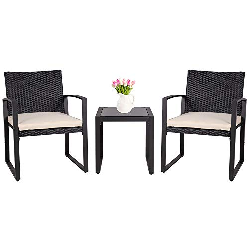 SUNLEI Outdoor 3Piece Bistro Set Black Wicker FurnitureTwo Chairs with Glass Coffee Table Beige Cushion