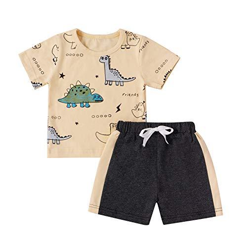 Juego de 2 Piezas de Ropa Deportiva para Niño Bebé Conjunto Camiseta de Manga Corta con Estampado de Dinosaurio + Pantalones Cortos Deportivos (Beige, 6-12 Meses)