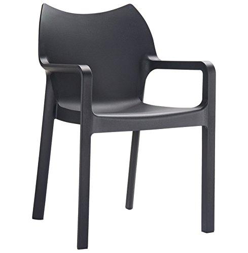 Alterego - Chaise design de terrasse 'VIVA' noire en matière plastique