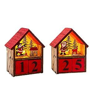 LZHJ Calendario de Navidad Que Brilla intensamente de la casa, 2Pcs Calendario de Adviento de Madera de Navidad