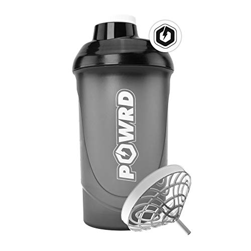 POWRD Shaker Black Edition 600 ml with Double Diaphragm Strainer Mixer for Creamy Shakes - For Fitness, Whey Protein, Isolate, BCaa, Gamer - BPA/DEHP Free, Leak-Proof, in Black