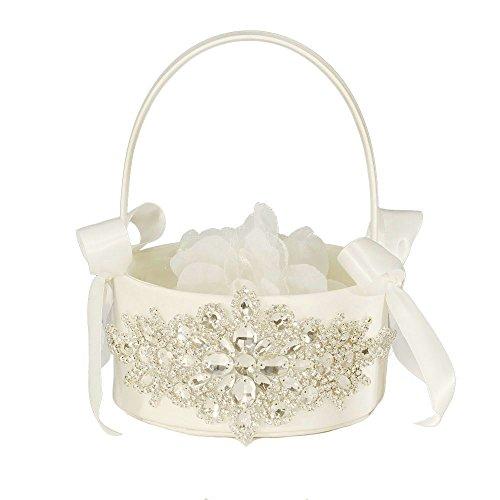 LAPUDA - Hermosa cesta de flores de boda con abalorio clavadas a mano con aspecto elegante y color marfil, estilo de estrellas, 1 basket