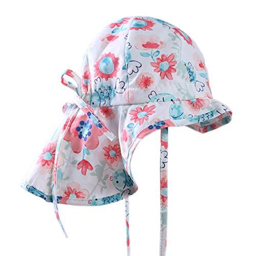 GWELL Kinder Sonnenhut Sommer Outdoor Strandhut UV Schutz Nackenschutz Mütze Sommerhut Fischerhut Weiß Blumen 51