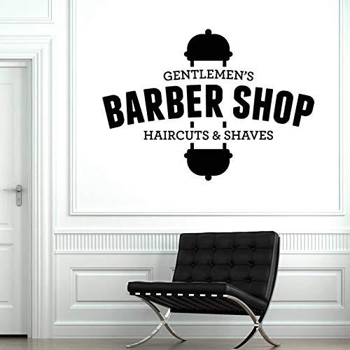 AGiuoo Vinilo adhesivo para pared de caballeros de peluquería, cortes de pelo, afeitadas, salones de belleza, decoración mural de 59 x 42 cm