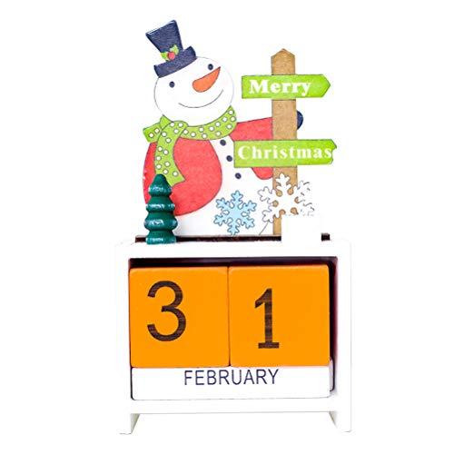 STOBOK Holz Weihnachtskalender Schneemann Adventskalender Würfel Dauerkalender Tischkalender Weihnachten Countdown Kalender (Orange)