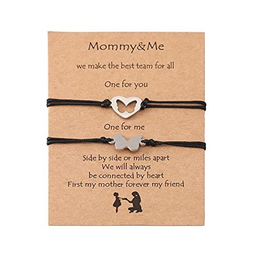 Branets Pulseras para madre e hija, pulseras de promesa rosas, pulseras de deseos, amistad, distancia a juego, para mujeres y niñas