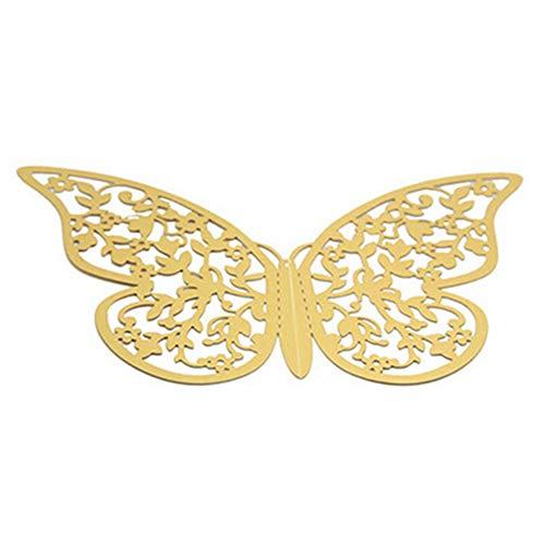 LPxdywlk 12Pcs Simulation Hollow Butterfly Wandaufkleber 3D Hochzeitsfeier Home Decorations Golden