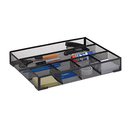 Relaxdays Organizador de Escritorio con 6 Compartimentos, Metal, Negro, 30x38x6 cm
