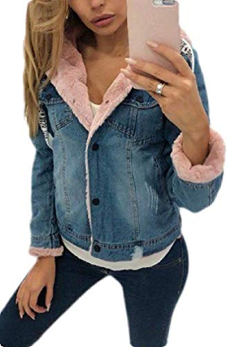 Dames Fleece Dik Hooded Denim Jean Jas Winter Jas