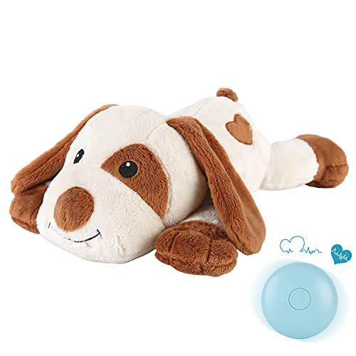 WEOK Puppy Heartbeat Toy, Dog Heartbeat Toy for Separation Anxiety Relief, Puppy Toy with Heartbeat Stuffed Animal Anxiety Calming Behavioral Aid Plush Toy for Dogs Cats Pets
