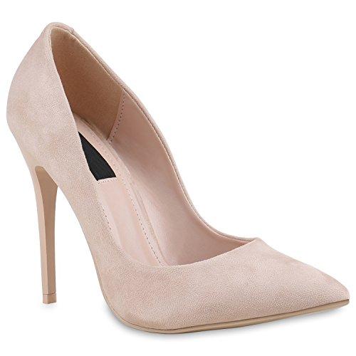 Damen Spitze Pumps Lack Stiletto High Heels Elegante Party Schuhe 133892 Creme 40 Flandell