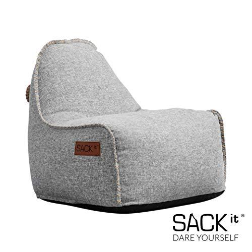 SACKit - RETROit Cobana Junior Light Grey - Hellgrau Indoor/Outdoor Sitzsack für Kinder. Sessel mit Lehne. Für das Kinderzimmer oder Gaming im Jugendzimmer - Kombinierbar mit einem Hocker