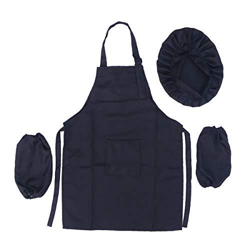 BESTONZON Juego de Delantal para Sombrero de Chef para niños - Tamaño de Kit de Desgaste para Hornear para cocinar para Cocina para niños (L, Negro)