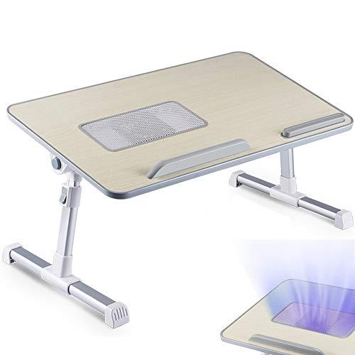 Lenisc - Soporte para ordenador portátil de altura ajustable, con ventilador de refrigeración para cama de ordenador portátil, bandeja para cama de ordenador portátil, patas ajustables para sofá cama