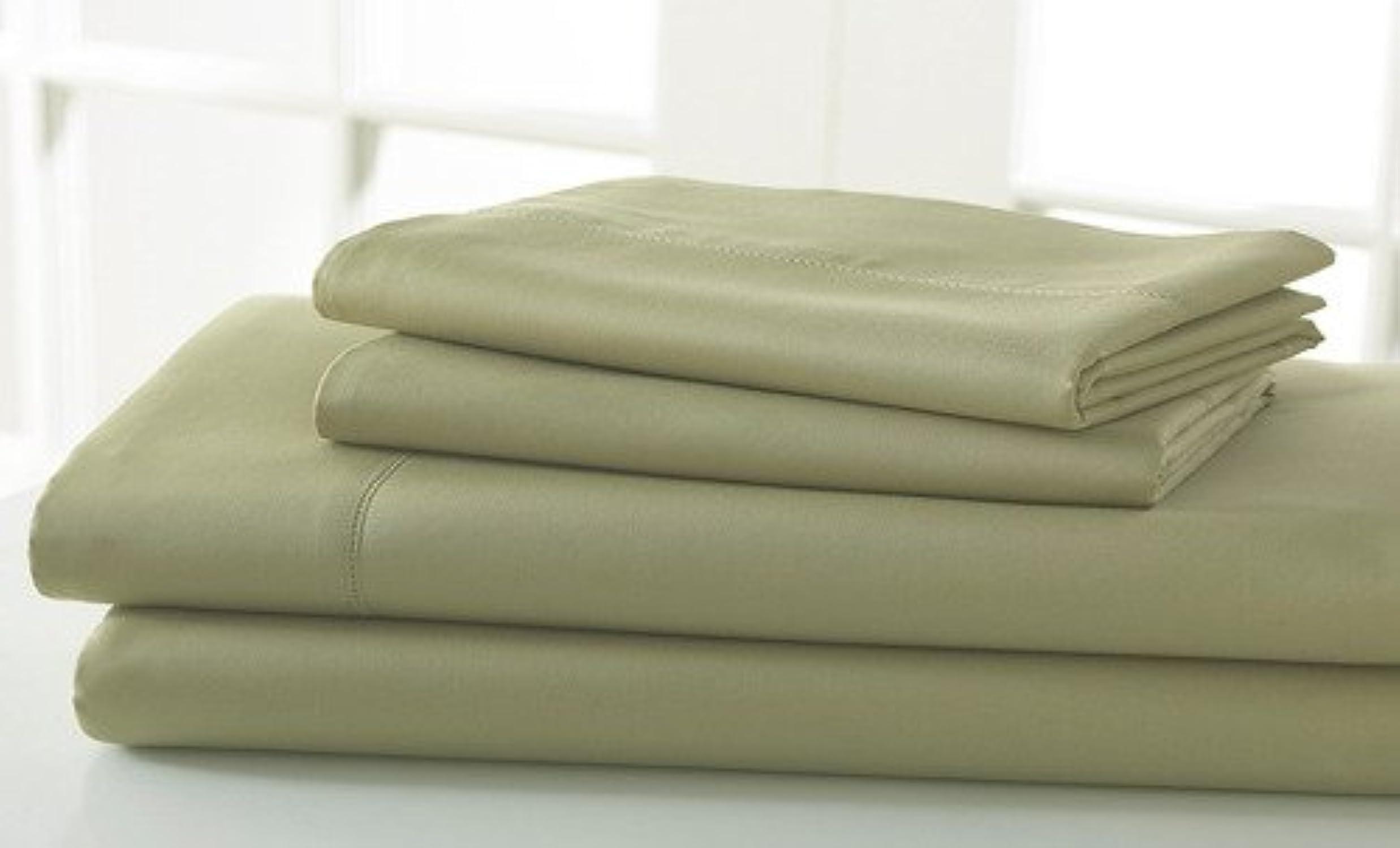 Dreamz Bedding Premium de qualité Lit en Coton égypcravaten de lit 76,2cm Poche Profonde suppléHommestaire Euro L Unique, Mousse, Olive Solide, Scala 100% Coton Parure de lit