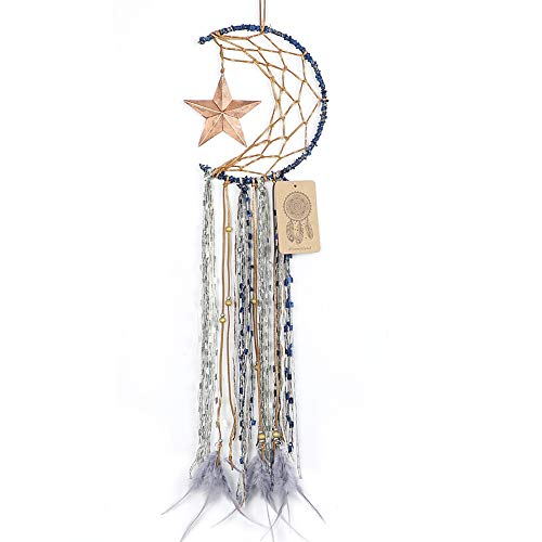 Dremisland Blue Dream Catcher Handmade Half Circle Moon Design Dream Catcher Feather Hanging with Star Home Decoration Ornament Festival Gift (Moon&Star)