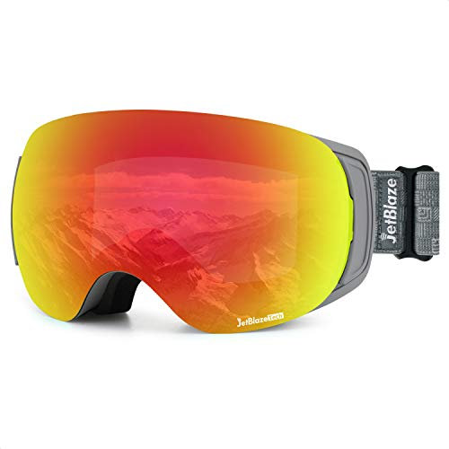 JetBlaze Ski Snow Goggles, Magnet Interchangeable Spherical Lens Ski Goggles, UV400 Protection Snowboard Goggles, Anti-Fog Snowmobile Goggles with Anti-Slip Strap for Men Women Youth Adult (Red)