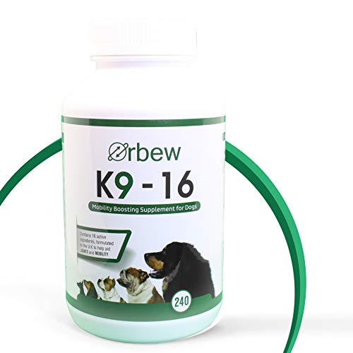 Orbew K9-16 - Dog Bone and Joint Mobility Boosting Supplement – High Glucosamine & Vitamins for Stiff and Old Dogs - 240 Tablets
