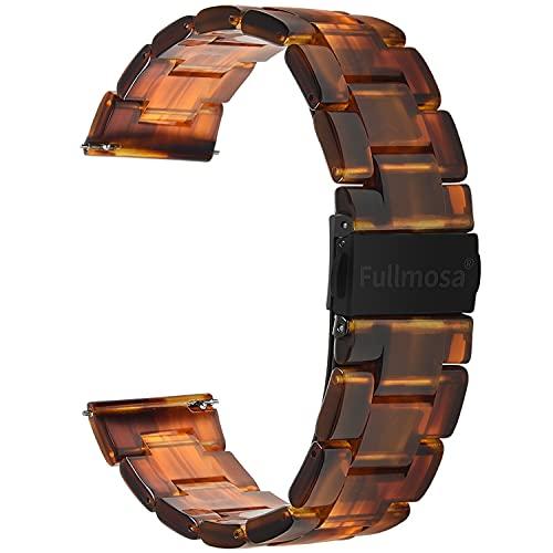 Fullmosa 5 Farben Uhrenarmband 18mm, Bright Serie Armbänder Ersatz-Watch Armband für Herren Damen 18mm Achat schwarz+Rauchengrau Schnalle
