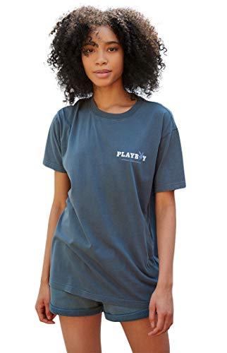 PacSun Playboy Women's Bunny Athletic Boyfriend T-Shirt - Blue Size Medium