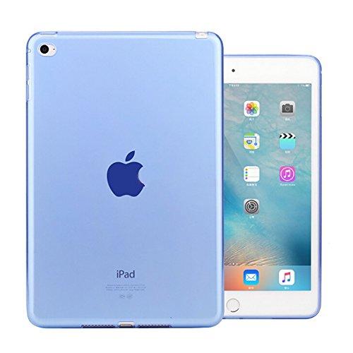 iCoverCase for iPad Mini 4 Case, Ultra-Thin Silicone Back Cover Clear Plain Soft TPU Gel Rubber Skin Case Protector Shell for iPad Mini 4 7.9' (Blue)