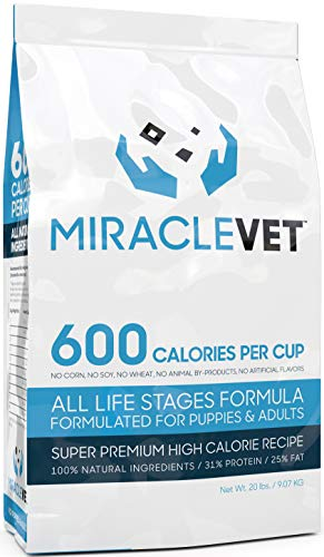 Miracle Vet High Calorie Dog Food For Weight Gain - 600 Calories Per Cup (Most In The World) - Veterinarian Approved For All Ages (Works For Puppies, Adults, and Senior Dogs). High Protein, High Fat.