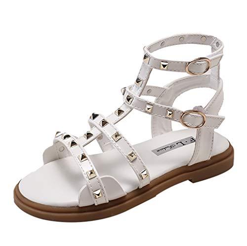 Fenverk Kinderschuhe MäDchen Sandalen Kindersandale Geschlossene Leder Innensohle Sandale Sommer Sandaletten Lauflernschuhe Schuhe(Weiß,34)
