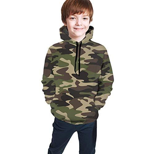 Sudadera con capucha para niños con estampado 3D y bolsillo para 7 a 20 años, diseño de camuflaje militar, color verde