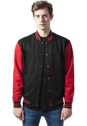 Urban Classics TB207 Herren Jacke 2-tone College Sweatjacket mehrfarbig (Blk/Red) X-Small