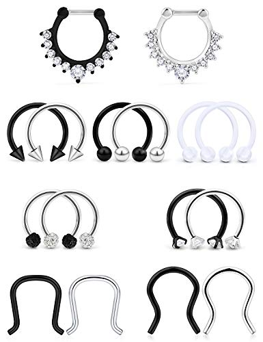 Hoeudjo Septum Clicker Rings 16G Surgical Steel Nose Hoop Rings Retainer Body Piercing Jewelry with Clear CZ Women Men U & D Shaped Daith Helix Tragus Lip Cartilage Earrings 16 Pieces Silver Black