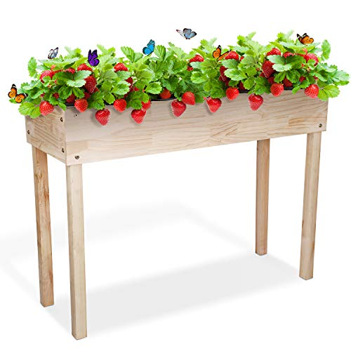 SIMBR Raised Garden Bed, Elevated Planter Box Outdoor for Vegetables Fruits Herb Grow, Solid Wood...
