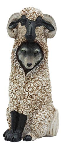 Ebros Dupers Collection Wolf in Sheep Clothing Statue 5.75  Tall Crafty Wild Direwolf in Ram Sheep Costume Decor Figurine Collectible