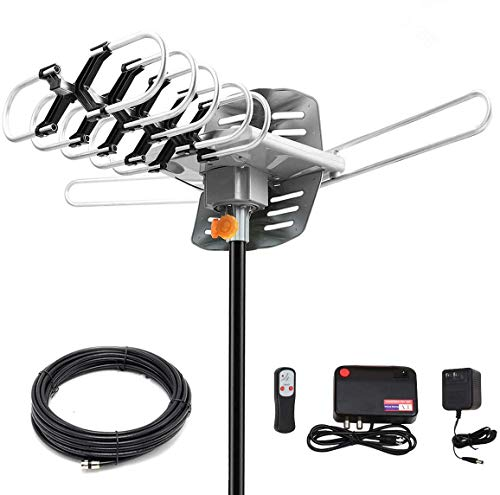 Digital Antenna -Amplified HD Outdoor TV Antenna 150 Miles Range with 360 Degree Rotation Wireless Remote - UHF/VHF/1080p/ 4K Ready(Without Pole)