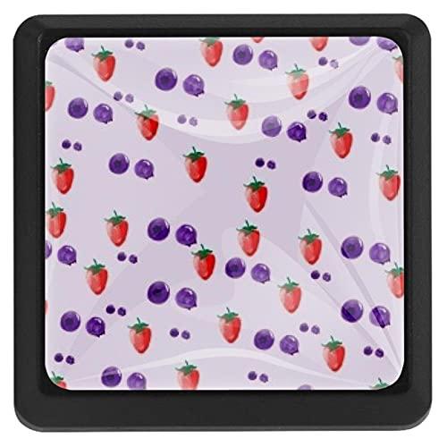 Bennigiry Lot de 3 boutons de porte et tiroir en verre carré Blueberry Strawberry